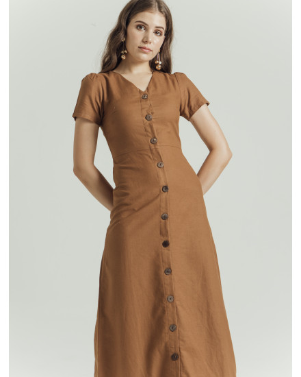 EMANUELLE DRESS - BROWN